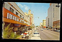 St. Petersburg, FL, Downtown Central Ave 1950s Postcard