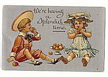'We're Having a Splendid Time' 1911 Children Postcard