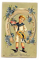 1907 Boy in Horseshoe 'Best Wishes' EAS Postcard
