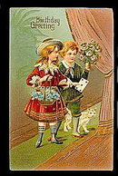 Lovely Children w Cat Birthday Greetings 1910 Postcard