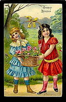 Gorgeous 1907 Girls 'Kindest Regards' Postcard