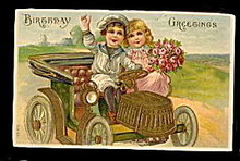 Lovely Children in Automobile Greetings 1907 Postcard
