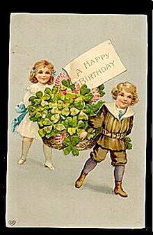 Lovely EAS Children Carrying Basket 1911 Postcard