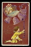 Gorgeous Children Ringing Bells 1910 New Years Postcard