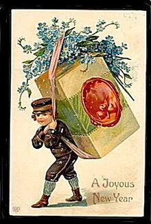 Lovely Boy Carrying Box New Years EAS 1908 Postcard