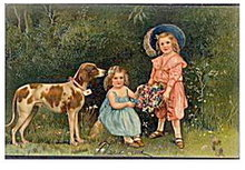 Stunning 1909 PFB Children & Dog Postcard