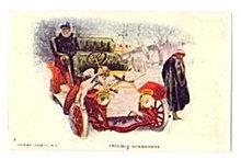 'Trouble Somewhere' Glamour Lady/Auto 1912 Postcard