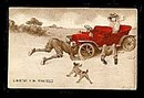 1908  'Looking for Trouble' Lady in Automobile Postcard