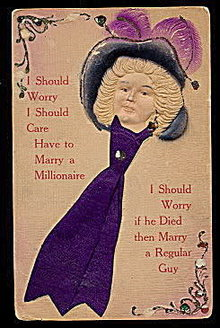 'I Should Worry....' Embossed Girl in Hat w Satin Card