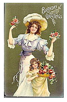 Gorgeous Woman & Girl Birthday Greetings 1910 Postcard