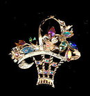 Vintage Flower Basket AB Rhinestone Brooch/Pin