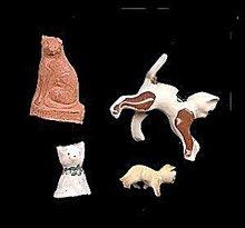 4 Small Vintage Cats - Bisque/Terra Cotta/Porcelain