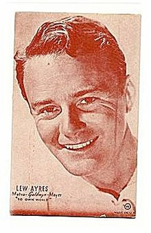 1950s Lew Ayres Actor Metro-Goldwyn Mayer Arcade Card