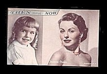 1950s Jeanne Crain 'Then and Now' Actress Arcade Card