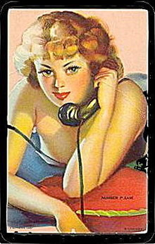 Number Please 1940s Risque Sultry Redhead Girl Postcard