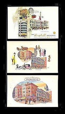 3 Chicago, IL Berghoff German Restaurant 1960 Postcards