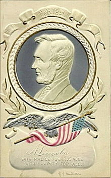 Abe Lincoln Patriotic Embossed 1907 Postcard