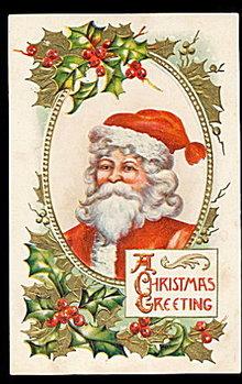 'A Christmas Greeting' Santa Claus 1910 Postcard