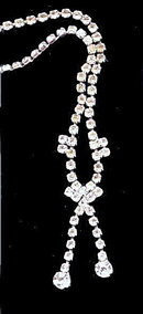 Lovely Drop Dangle Clear/White Rhinestone Necklace