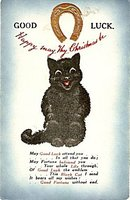 'Good Luck' Black Cat (Wain?) UK 1914 Postcard