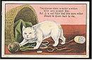 Great Kittenish Kitten/Cat with Yarn 1911 Postcard