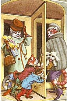 Dressed Cats in the Revolving Door Postcard, Mainzer