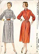 1954 McCall's 9848 Shirt Dress Sewing Pattern