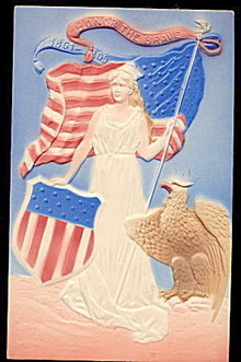 1908 Lady Liberty July 4th Patriotic Postcard