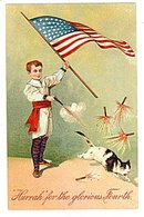 PFB 1907 Child with Flag & Cat July 4th Postcard