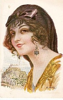 Stunning R Mir 'Spanish Lady' 1914 Girl Postcard