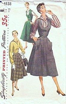 1954 Simplicity 4838 Jumper, Skirt & Blouse Pattern