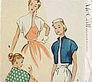 1951 McCall's #8472  Women's Bolero Sewing Pattern