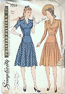 1940s Simplicity 3703 One Piece Dress Sewing Pattern