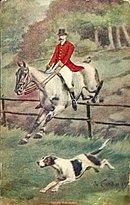 'Taking The Fence' Fox Hunt Horse & Dog Postcard