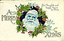 1909 'A Merry Christmas' Santa Claus Postcard