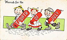 """1911 """"Hurrah for the Fourth of July"""" Postcard"""