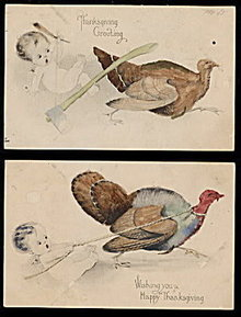 2 Child Holding Thanksgiving Turkey 1918 Postcards