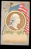 Patriotic George Washington - with Flag 1907 Postcard
