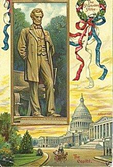 1908 Abraham Lincoln Statue Patriotic Postcard