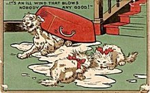 Early Cats Upending the Milk Bowl Postcard