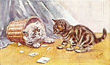 Vintage J Salmon Blue Persian & Tabby Cats Postcard