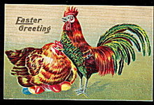 1910 Easter Greetings with Rooster & Chicken Postcard