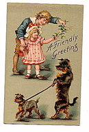 'A Friendly Greeting' Children with Dogs 1907 Postcard