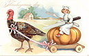Tucks Thanksgiving Girl Riding Turkey Coach Postcard