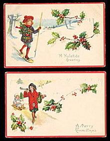 2 1919 Girls/Children Sled/Ski Postcards