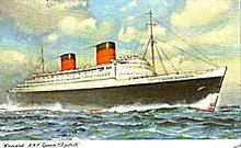 RMS Cunard Queen Elizabeth Cruise Ship 1959 Postcard