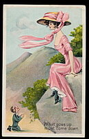 Summer Girl Series J Marks Lady with Hat Postcard
