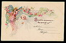 1905 Angel & Baby Birth Annoucement Postcard