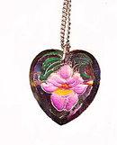 Vintage Inset Iris Crystal Heart Pendant Necklace