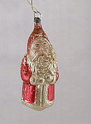 Early 1900s Glass Santa Claus Holding Tree Ornament